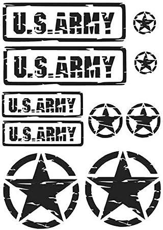 Us Army Retro Set Aufkleber In Zwei Verschiedenen Größen Schriftzug Und Star Set Aufkleber M Und Xl 283 4 Schwarz Glanz Medium Auto