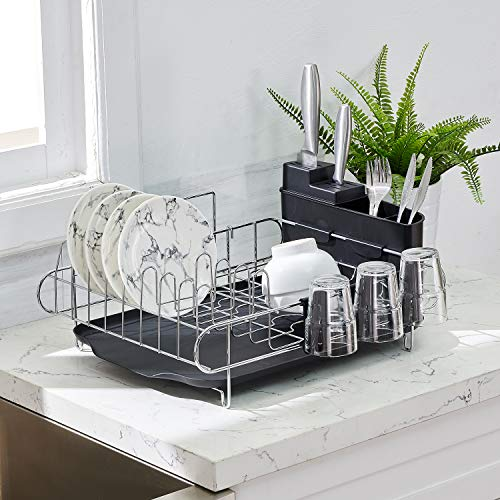 KRASTY Sink Side Rust-Proof Kitchen Draining Dish Drying Rack,Dish Rack With Durable Black Drain Board,3 Independent Cup Holder Accessories,1 Wide Tableware Rack and Knife Holder Accessory