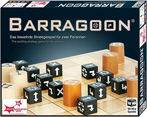 WiWa Spiele 790016 - BARRAGOON - Gewinner MinD-Spielepreis 2016 (Spiel Gesellschaftsspiel Brettspiel Strategiespiel für 2 Spieler ab 8 10 12 Holz Spiel-Steine)