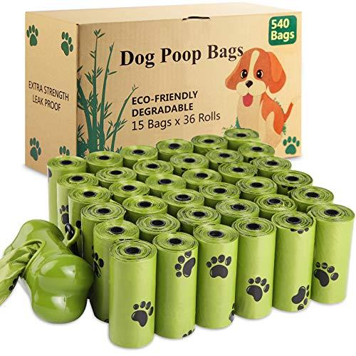 SaiXuan 540 Unidades/36 Rollos Bolsas para Excrementos de Perro con 1 dispensador,Dog Poo BagsFuerte y a Prueba de Fugas Biodegradable Bolsas para Caca de Perro Perfumadas
