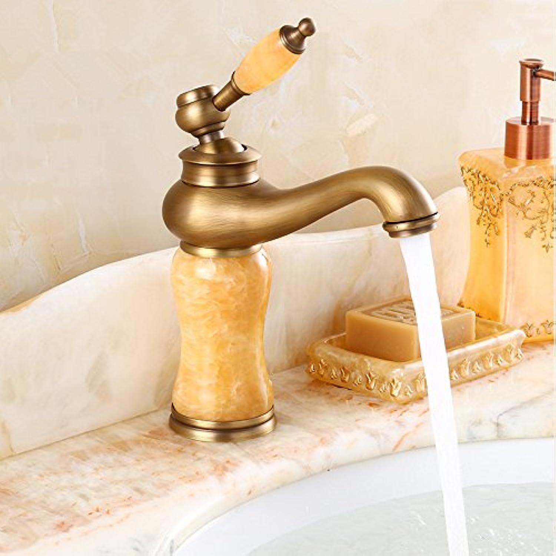 Bijjaladeva Bathroom Sink Vessel Faucet Basin Mixer Tap Antique faucet hot and cold full copper bathroom sink antique jade water tap Washbasin Faucet antique yellow Jade Dragon Hea