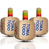 YAJUA Nuestra Nostalgia Toma Todo Pirinola Set with 6 Sides Made from Wood Beautiful and Colorful Design with Easy and Long Spin Medium Size 2.5 Inches Tall [Set of 3]