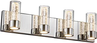 JINZO LED Vanity Lighting Fixture 4-Lights Polished Chrome Modern Bathroom Vanity Light Wall Mount Fixture Up and Down Lights with Champagne Bubble Glass Shape