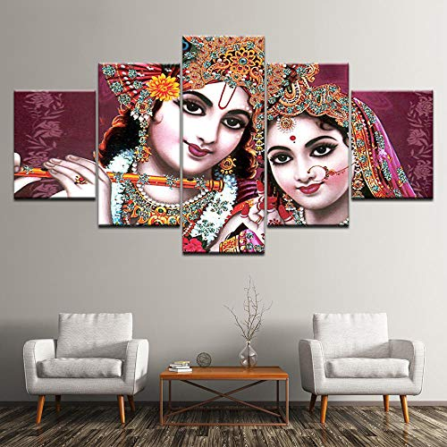 Fbhfbh Pictures Modular Poster HD Printing 5 Pieces India God Radha Krishna Canvas Painting Modern Living Room Wall Decor Art Framework-16x24/32/40inch,with Frame