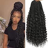 Crochet Box Braids Curly Ends 144 Strands 22 Inch Bohomian Crochet Braids Box Braids 3X Goddess Box Braids Crochet Hair Synthetic Crochet Braids Hair Extensions (22inch-6pack, 1B)