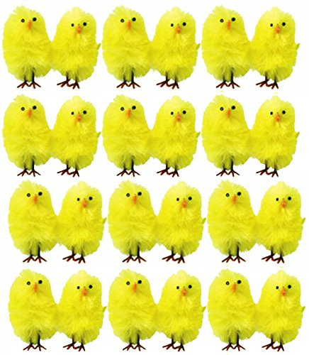 20 x Mini-pulcini gialli per caccia al tesoro di uova pasquali, cofano accessori
