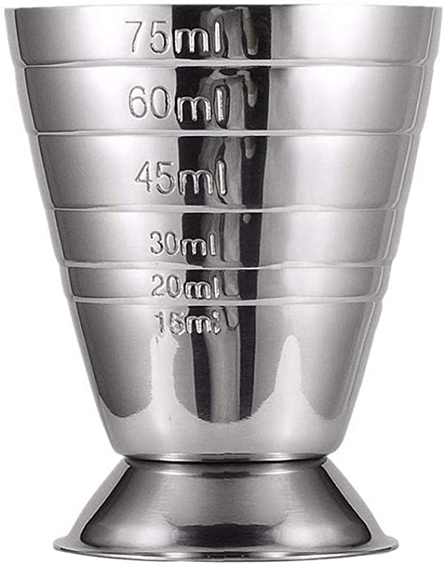 Eroute66 Stainless Steel Wine Measuring Cup With Scale Spirit Cocktail Jigger Measure Liquor For Bar Party 75ml Silver