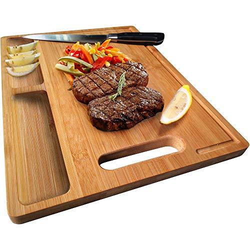 NIUXX - Tabla de cortar de bambú con asa, tabla de cortar gruesa con 2 compartimentos y ranuras para zumos, tamaño mediano reversible para cocina, 30 x 21 x 1,5 cm