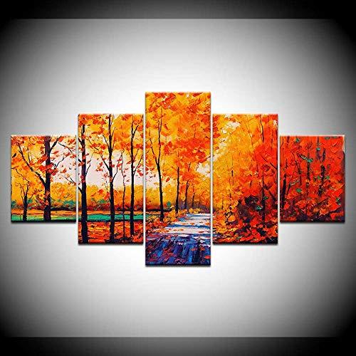 DGGDVP Kunstschilderij met gele bomen en bladeren, 5 stuks, behang, kunst canvas printen, moderne posters, modulaire kunst schilderkunst wooncultuur 30x40cmx2,30x60cmx2,30x80cmx1 Geen frame.