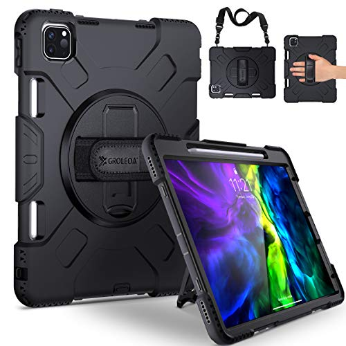 GROLEOA Rugged Case for iPad Pro 11 inch 2nd&1st Generation 2020/2018, Support Pencil Holder Charging, Heavyduty Protective Full Body Cover with 360 Rotating Kickstand Portable Shoulder Strap Black