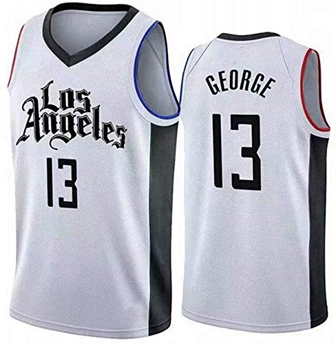YZY Basket NBA Maglie Uomo, Los Angeles Clippers # 13 Paul George Maglie, Classico Ricamato Respirabile Senza Maniche Canotta,B,M(170~175CM/65~75KG)