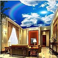 Lcymt 天井壁画壁紙青空と白い雲虹自然風景天井壁画レストラン家の装飾-400X280Cm