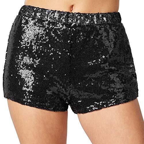 dressforfun 900996 Damen Pailletten Glitzer Shorts, sexy Kurze Hose Shorts, schwarz - Diverse Größen - (L | Nr. 303898)