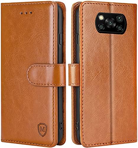 FMPCUON Hülle für Xiaomi Poco X3 NFC/Poco X3 Pro Handyhülle [Standfunktion][Magnetverschluss] Tasche Flip Hülle Schutzhülle lederhülle flip case für Xiaomi Poco X3 NFC Braun