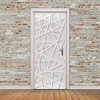 寝室の壁のPvcステッカ壁画 3D 立体ステッカー 立体グリッド ドア ステッカー 自己粘着 6 サイズを選択できます。-77cm(W)*200cm(H)