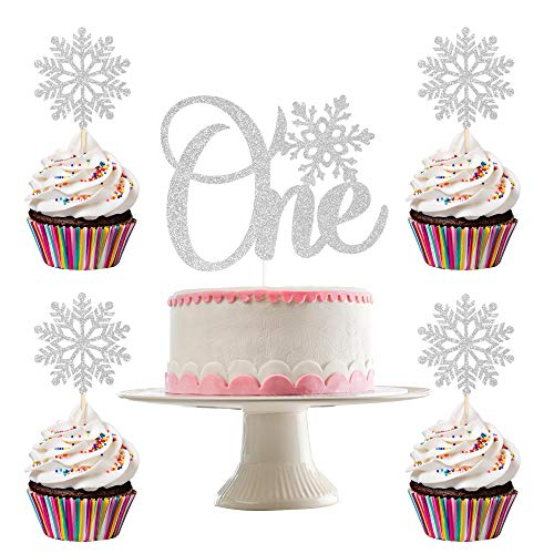 Snowflake One Cake Topper and 24 pcs Snowflake Cupcake Toppers- Snowflake Decorations, Winter Onederland 1st Birthday Decorations, Winter Wonderland Decorations, Winder Onederland Cake Topper(Silver Glitter)