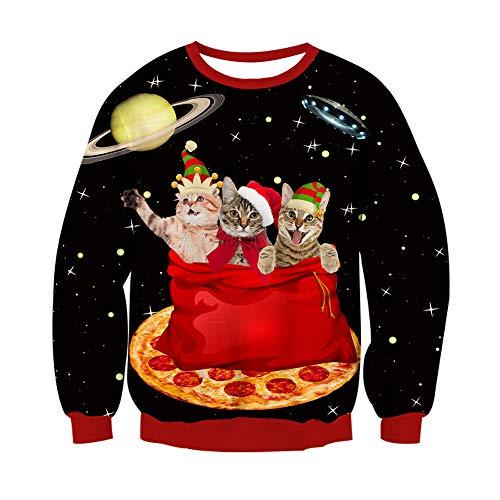 Freshhoodies Unisexe Chat de Galaxie Sweat De Noël Créatif 3D Imprimés Drôle Journée du Pull De Noel Pull Moche Pullover Sweatshirts pour Homme Femme XXL