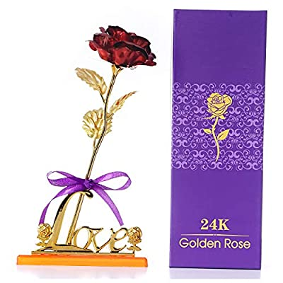 BEFINR 24K Gold Rose Artificial Forever Flowers with Love-Shaped Stand Best Gifts for Valentine's Day Thanksgiving Mother's Day Birthday for Friend Girl Wife Women Her (Red)