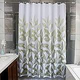 HMundDX Wasserdichter duschvorhang Mit Ringe, Antischimmel Polyester Badvorhänge Blumen für Bad Hotel schlafsaal-Weiß 100x180cm(39x71inch)