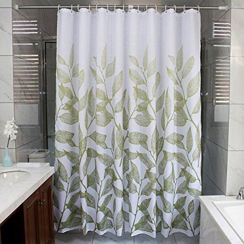 HM&DX Wasserdichter duschvorhang Mit Ringe, Antischimmel Polyester Badvorhänge Blumen für Bad Hotel schlafsaal-Weiß 280x200cm(110x79inch)