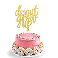Double Sided Glitter Donut Grow Up Cake Topper Kids Birthday Party Decoration Supplies