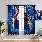 ZhiHdecor Frozen Elsa Anna Print Gardinen für Schlafzimmer Vorhang 106,7 x 137,2 cm, verstellbarer Raffhalter