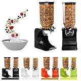 Dispenser di cibo/cereali, in plastica, colore: Bianco/Trasparente, ideale per cibo per animali, cibo e chicchi di caffè Single Green