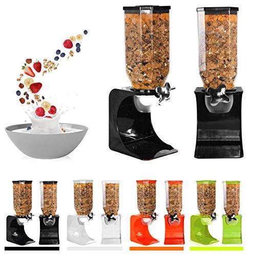 Ballino - Dispensador de Cereales de plástico para Alimentos Secos, Dobles, Color Blanco Transparente Naranja