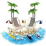 NaiCasy Casa de muñecas en Miniatura Accesorios Beach Decoración del Paisaje de la Playa Micro con tumbonas Parasoles de la Palmera para el Verano 18PCS