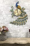 Ebros Gift 29' High Large Victorian Artistic Iridescent Peacock Iris Colorful Feather Like Train Gold Plated Metal Wall Clock Analog Face with Citrine and Blue Acrylic Gemstones