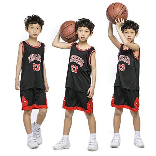 XCR Kids Boys Girls Uomini Adulti NBA Michael Jordan # 23 Chicago Bulls Retro, Maglie da pallacanestro Kit Top + Short 1 Set (nero, M (bambini))