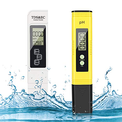 Misuratore Ph, PH Tester, Misuratore Ph e Cloro Piscina, Misuratore Ph Acqua 4 in 1 PH e TDS/EC Temperatura Tester e LCD Digitale Display, PH Metro per Acquari,Piscine,Acqua Potabile,Laboratorio