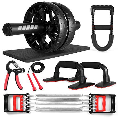 Odoland AB Roller Bauchtrainer 6-In-1 AB Wheel Set: mit Knieschoner, Liegestützen, Multifunktions-Widerstandstrainer, Handgriff-Krafttrainer, Springseil