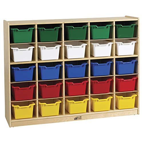 ECR4Kids Birch 25 Cubby Tray Cabinet with Scoop Front Assorted Color Bins