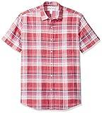 Amazon Essentials - Camisa a cuadros de lino con manga corta para hombre., Escocés rojo, US XS (EU XS)