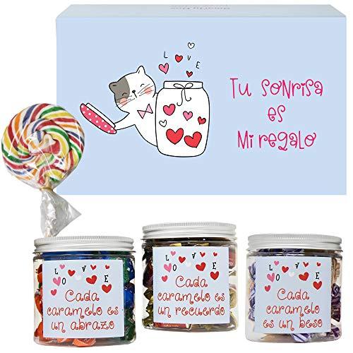 SMARTY BOX Caja Regalo Caramelos y Gominolas San Valentín, Cumpleaños Pareja, Enamorados, Golosinas Chuches sin Gluten, Fabricado en España