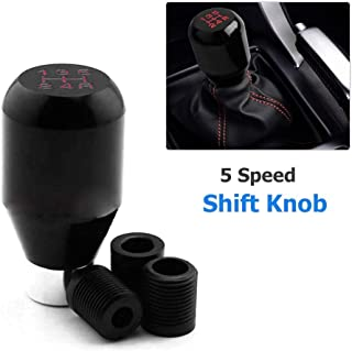 Cuque 5 Speed Car Manual Gear Shift Shifter Knob Spring Style Automobile Head Handle Lever Aluminum Alloy Auto Gear Shift Knob Head with 3 Rubber Adapters 8mm 10mm 12mm Blue Gear Shift Knob
