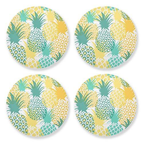 Posavasos para bebidas absorbentes – Piñas Verano Fruta Sfd003 - Alfombra de madera natural con respaldo de corcho (juego de 4 piezas) 10,4 cm para decoraciones de boda