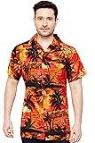 TROPICAL VIBES Camisa Hawaiana Florar Casual Manga Corta Ajustado para Hombre M