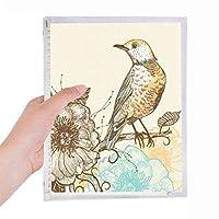 カラフルな鉛筆の鳥の花 硬質プラスチックルーズリーフノートノート