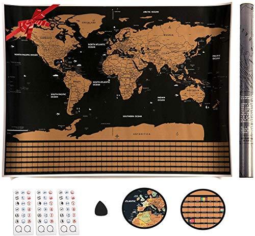 VEOMAPPY® Mapa Mural para Rascar del Mundo 830*590mm - Rascar Island, País, las Ciudades que Visitó - Perfecto para los Viajeros | Exploradores | Coleccionistas - Con Pegatinas / Herramienta de Rayado
