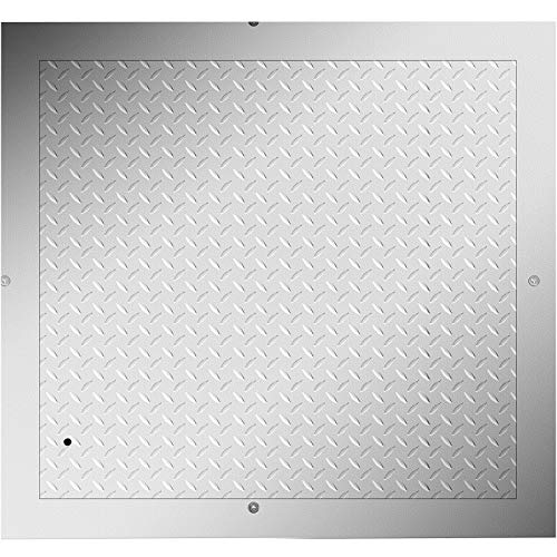 VEVOR 70x70 cm Stahl Schachtabdeckung begehbar Silber Öffnungsgröße, 77x77 cm Schachtdeckel quadratisch eckig mit rahmen Gesamtrahmengröße, Riffelblech hochwertig Verzinkte Stahlplatte