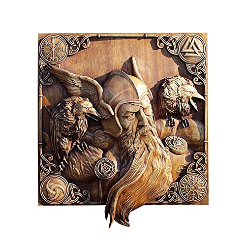 Nordic Wooden Wall Decor Nordic Mythology Rune Wooden Flat Wall Hanging Home Decoration Viking Mythology Wood Home Decor Wooden Carving Wall Plaque Decoration for Living Room Wall Shelf (A)
