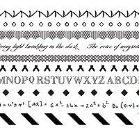 Songowe 10個セット 和紙テープセット (黒と白の刻印)和紙テープセット スクラップ ブックアルバム装飾 マスキングテープ DIY装飾紙 スリムテープ
