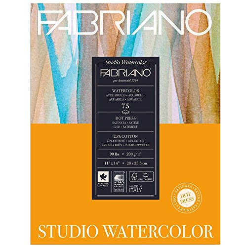Fabriano Studio Watercolor Paper 90 lb. Hot Press 75-Sheet Pad 11x14'