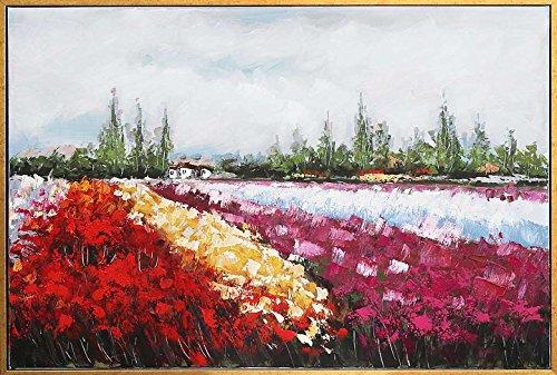 Cuadro al óleo Original con Marco - Campo con Flores - 124 x 84 cm