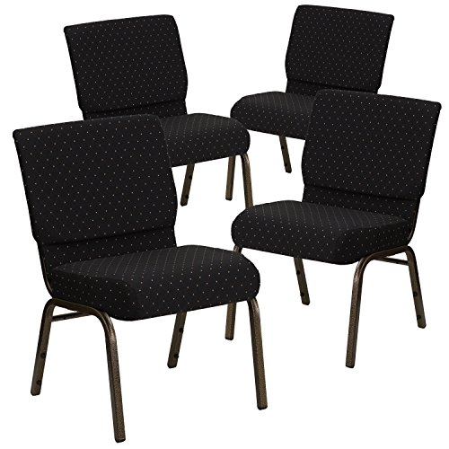 Flash Furniture 4 Pk. HERCULES Series 21''W Stacking Church Chair in Black Dot Patterned Fabric - Gold Vein Frame