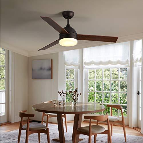 106 cm Ventilador de techo de cromo cepillado con 4 aspas reversibles (negro/plateado) Incluye mando a distancia - Ventilador de techo con mando a distancia