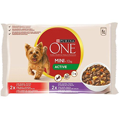 Purina ONE MINI comida para perros húmeda en Salsa Active Perro Adulto Buey y Pato 10 x [4 x 100 g]