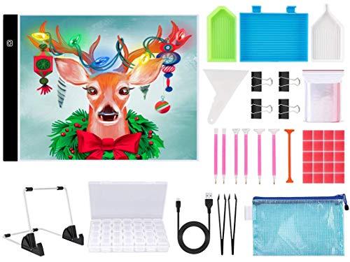 Kit d'accessoires de peinture diamant 5D, kit complet de peinture diamant avec tablette de peinture A4, avec support, boîte de rangement à 28 compartiments, pour loisirs créatifs